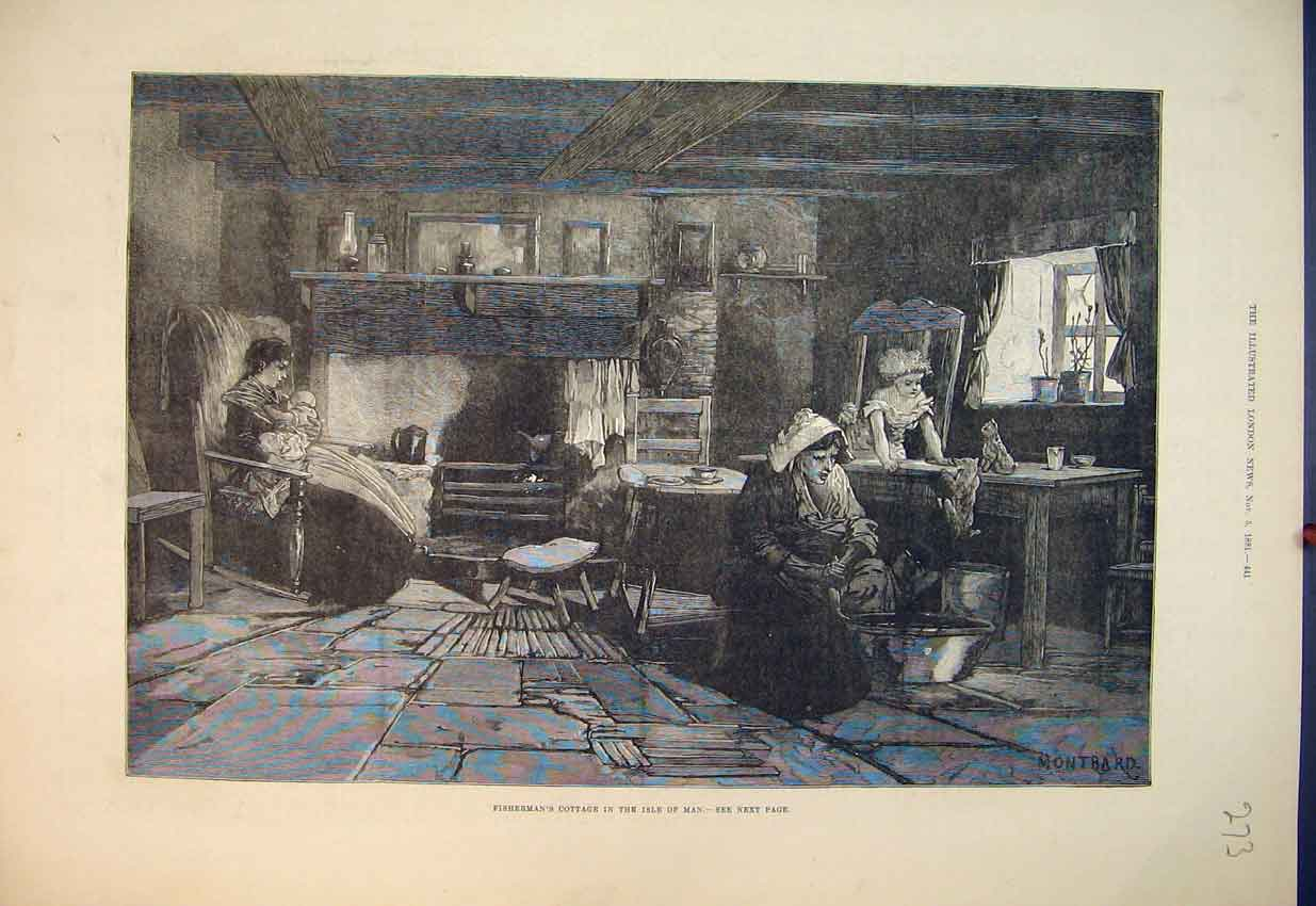 Print 1881 Interior View Fishermans Cottage Isle Man House 273B351 Old Original
