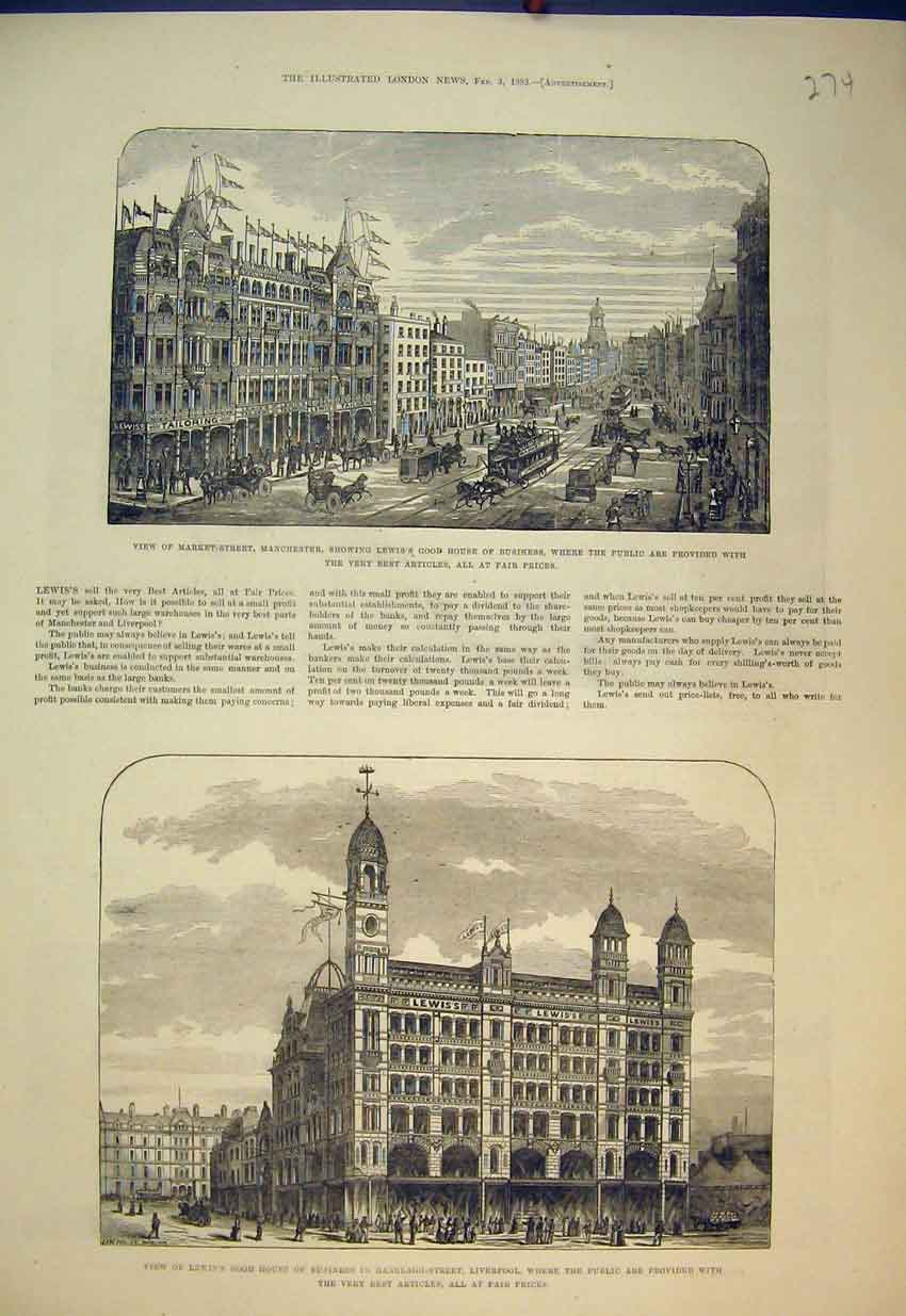 Print 1883 Market Street Liverpool Lewis House Business Work 274B351 Old Original