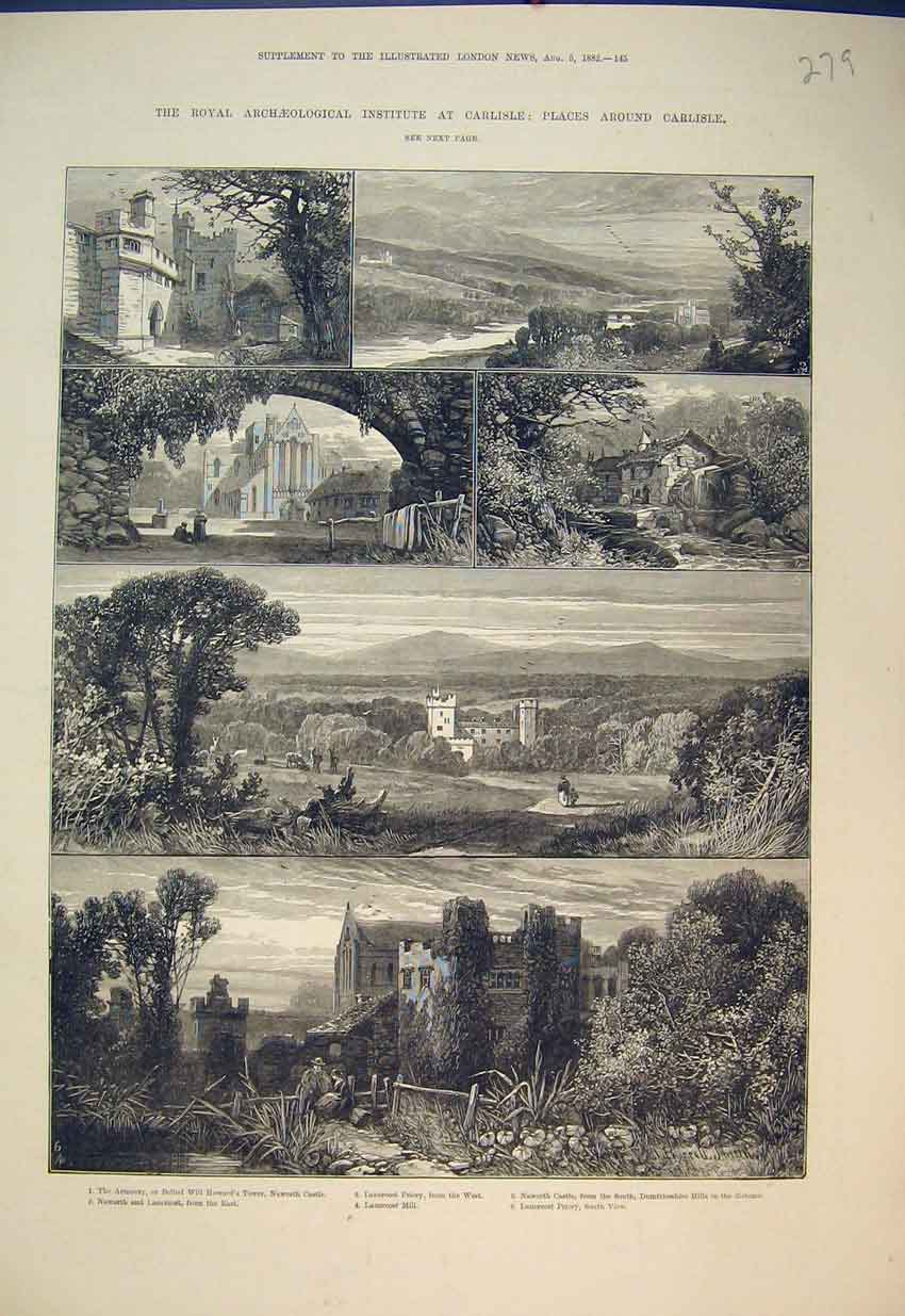 Print 1882 Carlisle Lanercost Mill Priory Howard Tower Castle 279B351 Old Original