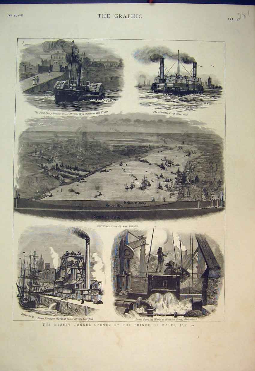 Print 1886 Mersey Tunnel Steam Pumping Works Ferry Boat River 281B351 Old Original