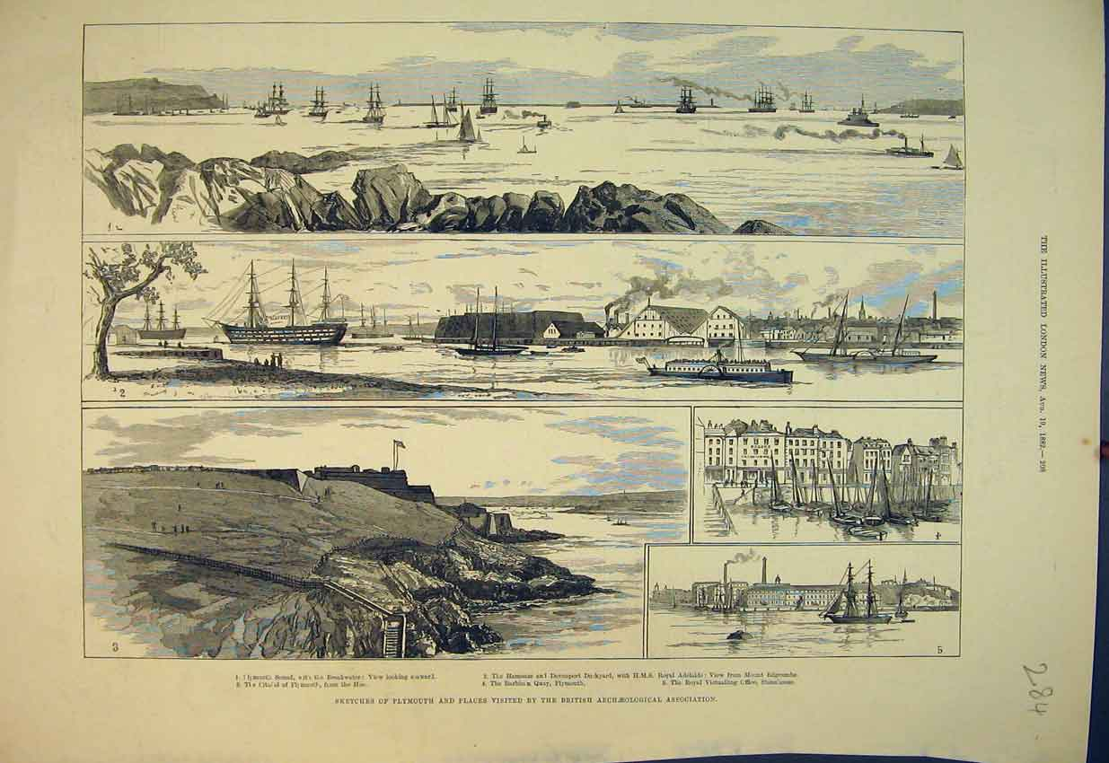 Print 1882 Plymouth Citadel Barbican Quay Ships Harbour 284B351 Old Original