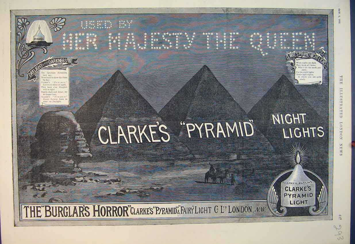 Print 1895 Advert Clarke'S Pyramid Night Lights Candle 293B351 Old Original