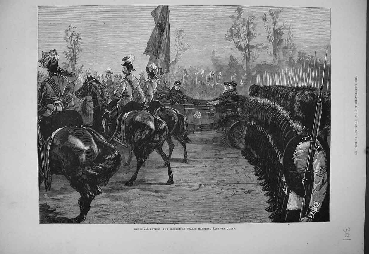 Print Royal Review Brigade Guards Marching Queen Horse 1882 301B352 Old Original