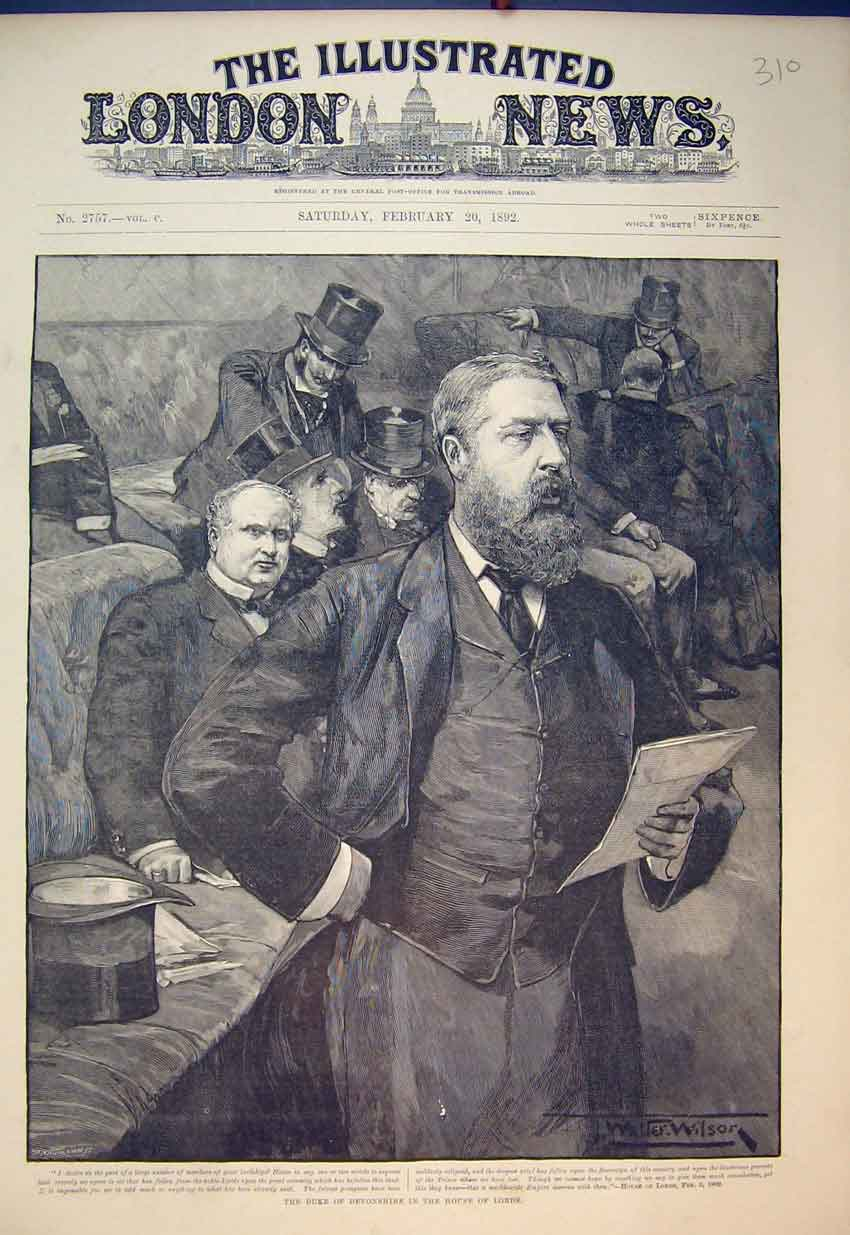 Print 1892 Portrait Duke Devonshire House Lords Speaker Art 310B352 Old Original