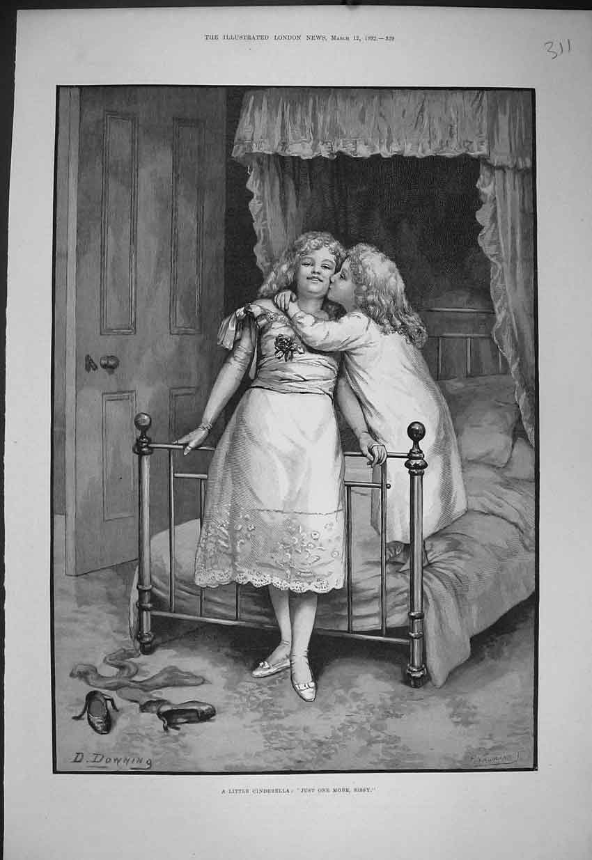 Print Youngs Girls Cinderella Bedroom 1892 Art 311B352 Old Original