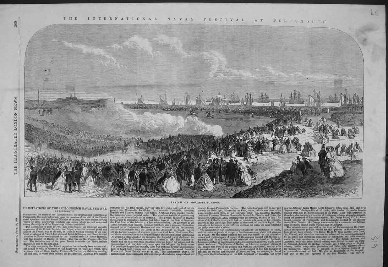 Print 1865 Naval Festival Portsmouth Southsea Common Review 319B352 Old Original