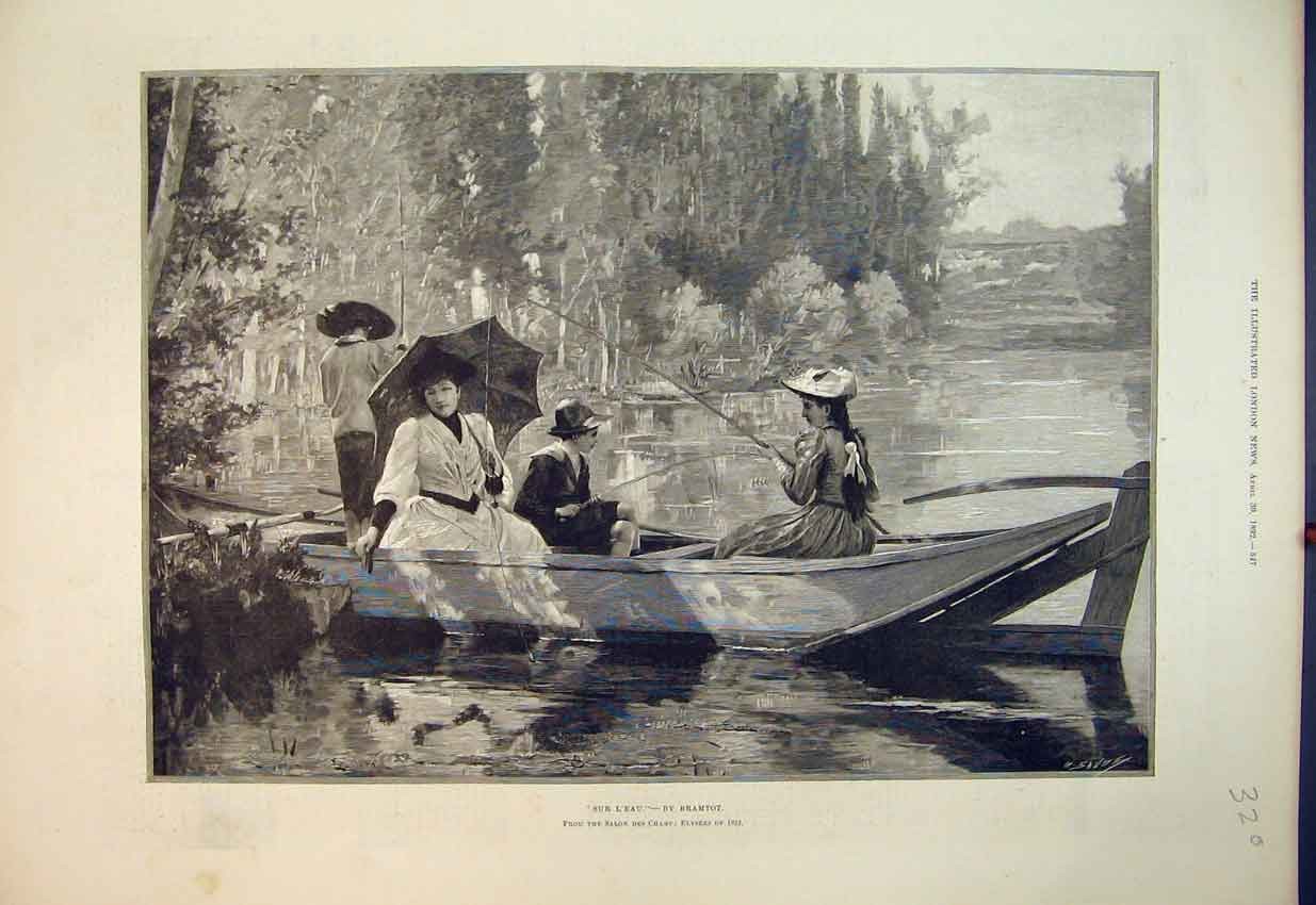 Print 1892 Family Day Out River Boat Fishing Fine Art Bramtot 320B352 Old Original