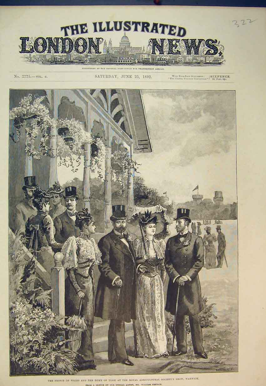 Print Prince Wales Duke York 1892 Agricultural Show Warwick 322B352 Old Original