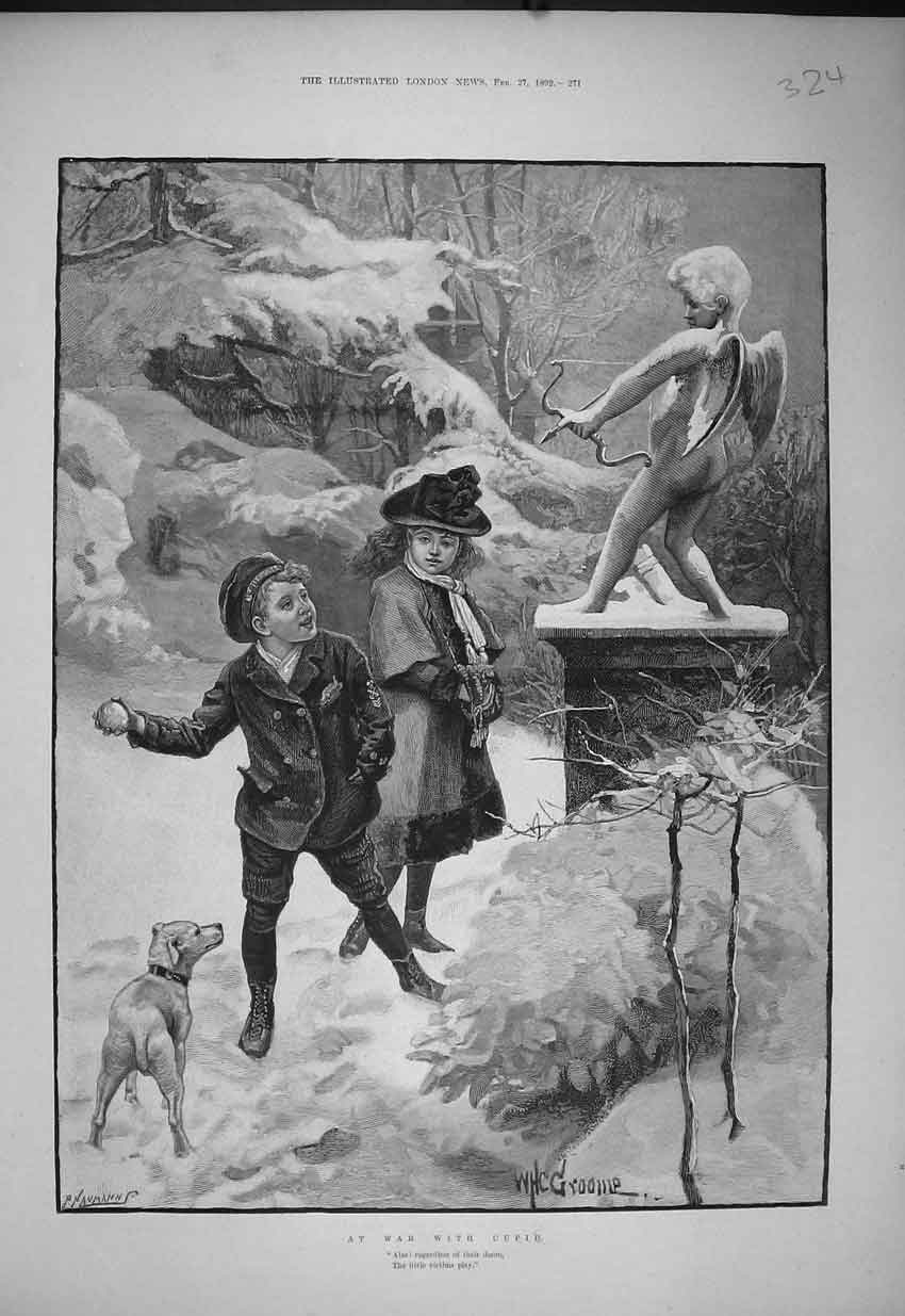 Print 1892 Young Children Playing Snowball Cupid Statue Dog 324B352 Old Original
