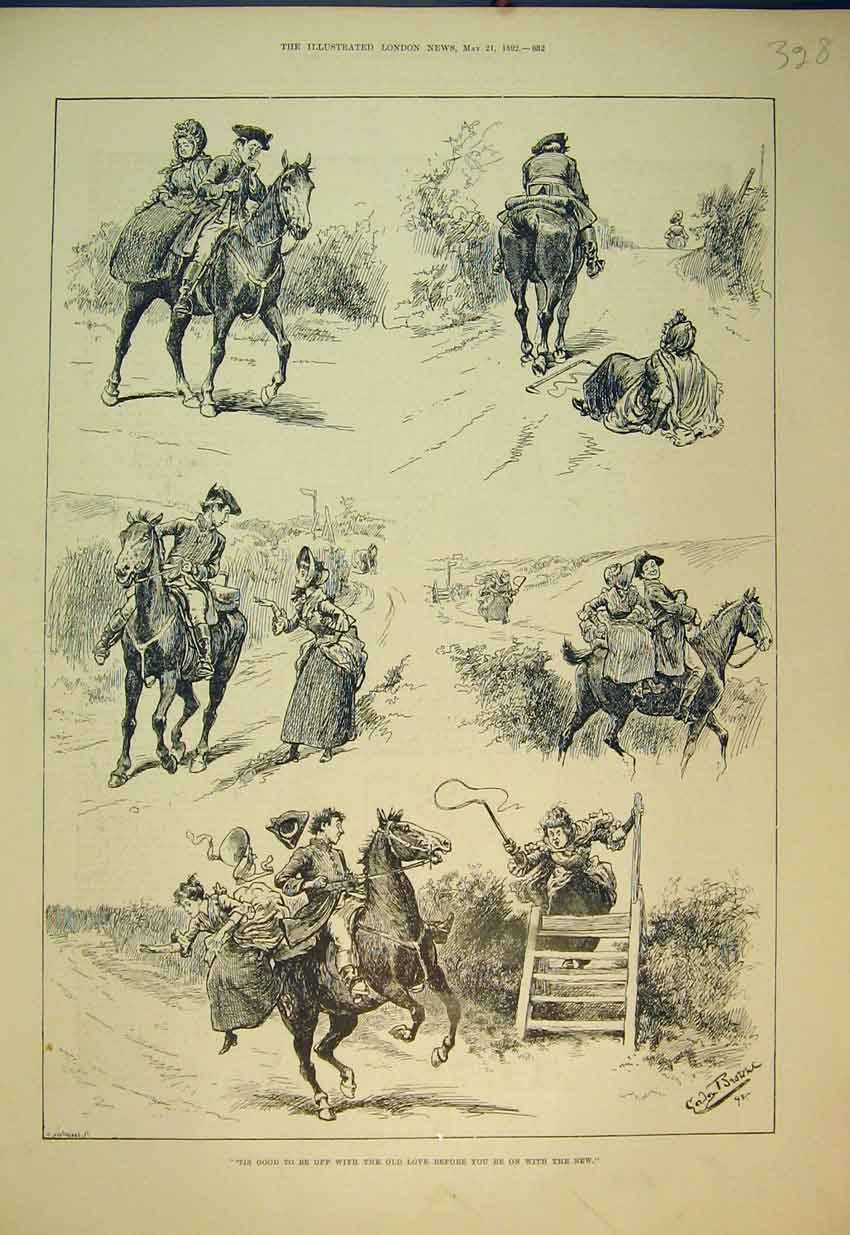 Print 1892 Comedy Scenes Road Horse Woman Stick Falling 328B352 Old Original