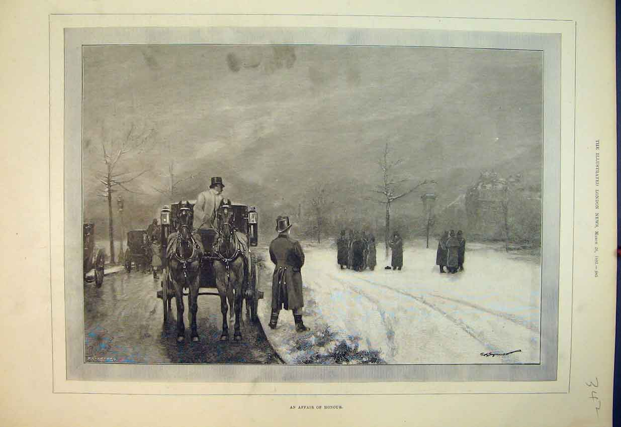 Print 1892 Fine Art Winter Snow Horse Coach Men Night 342B352 Old Original