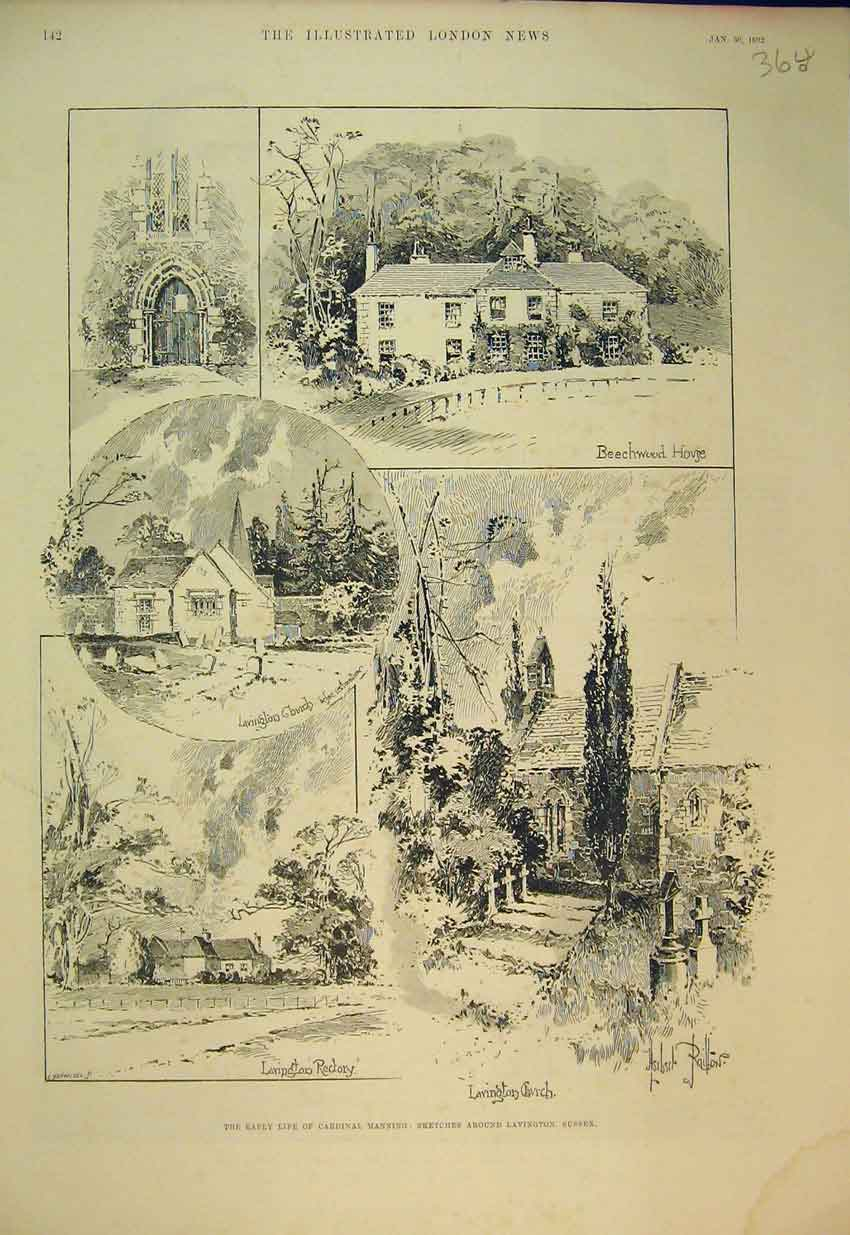 Print Lavington Sussex 1892 Beechwood Hove Church Rectory 364B352 Old Original