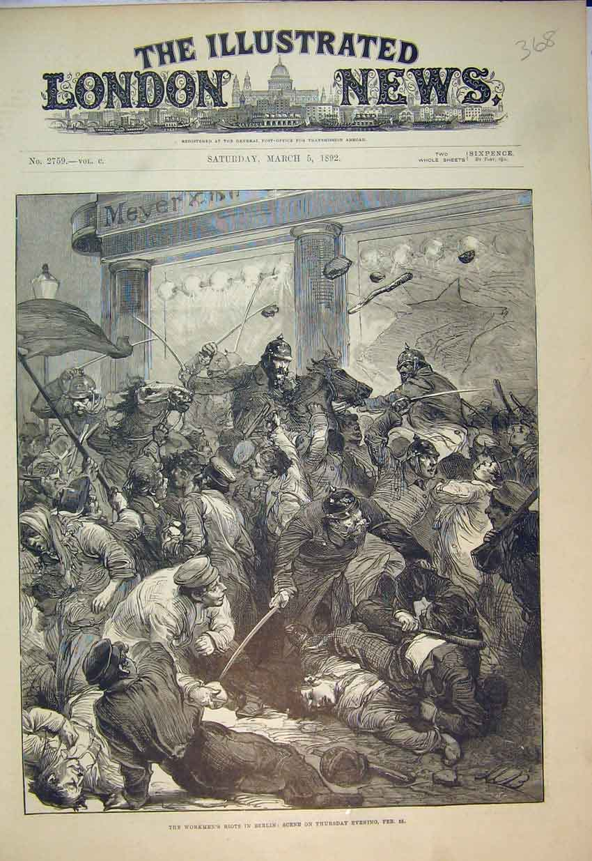 Print 1892 Workmen'S Riots Berlin Germany Fighting Policemen 368B352 Old Original
