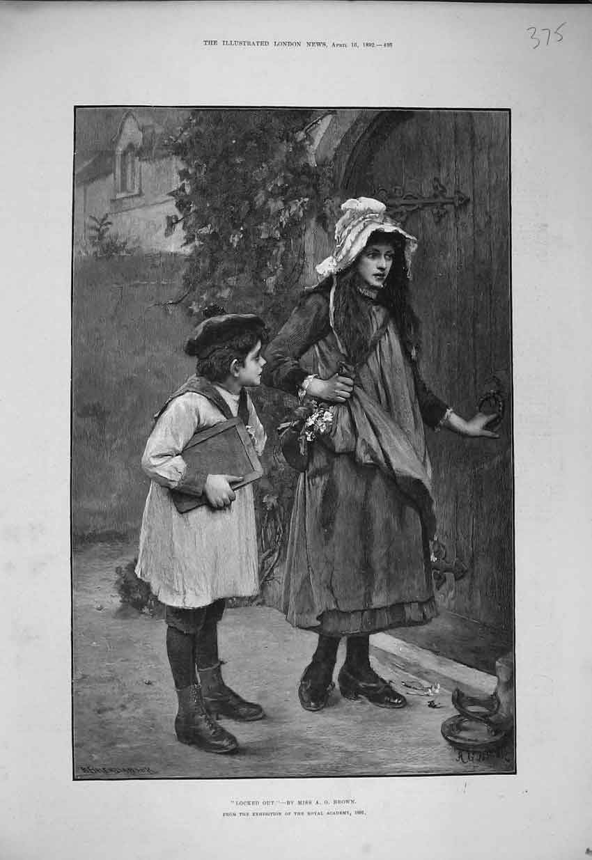Print 1892 Fine Art Young Girl Boy Home School Door Brown 375B352 Old Original