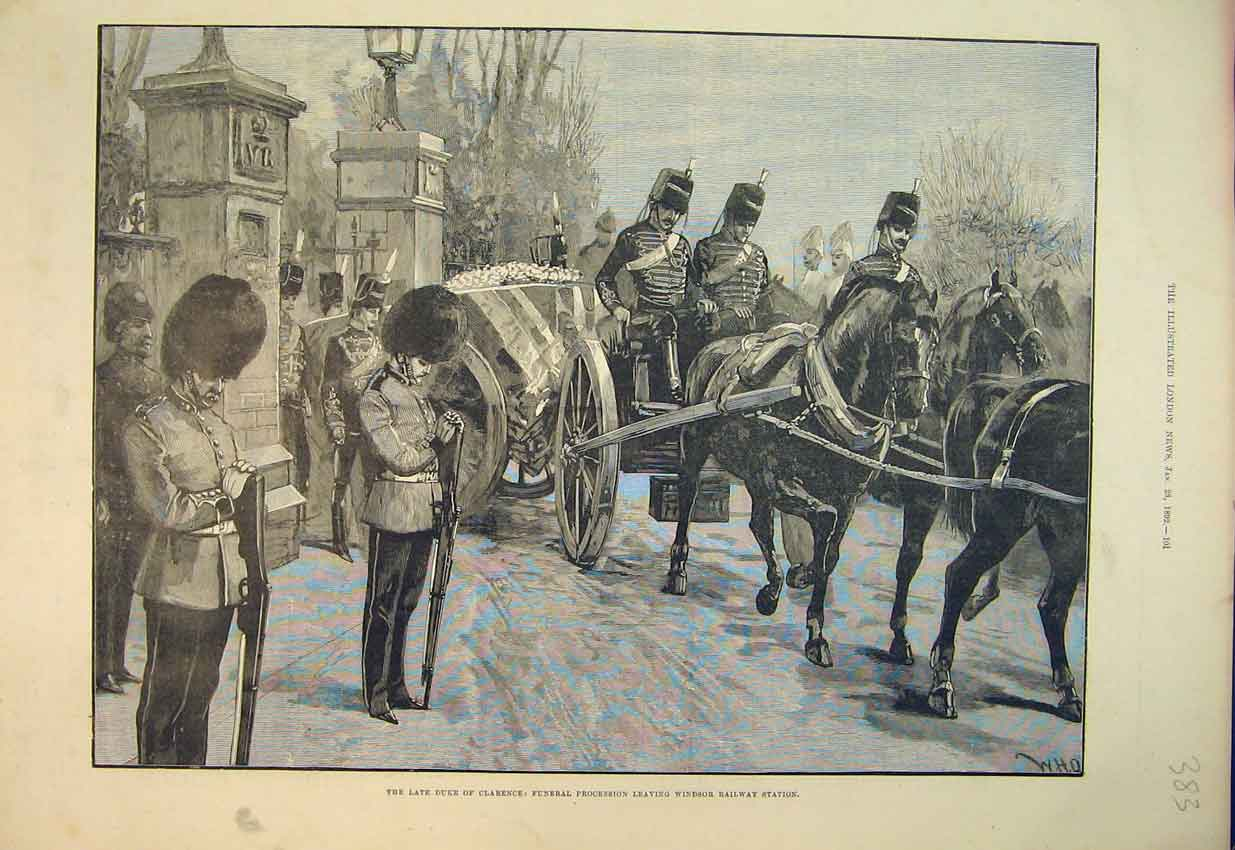 Print 1892 Duke Clarence Funeral Procession Windsor Horses 383B352 Old Original
