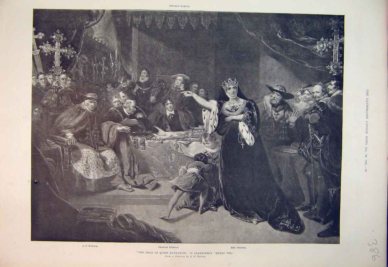 Print 1892 Theatre Trial Queen Katharine Shakespear Henry 386B352 Old Original