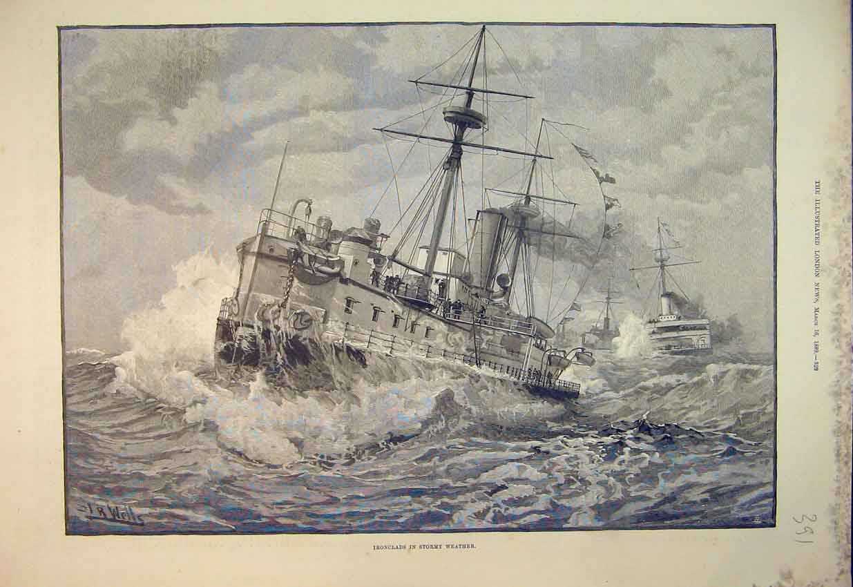 Print Sea Scene 1889 Ironclads Ships Stormy Weather Fine Art 391B352 Old Original