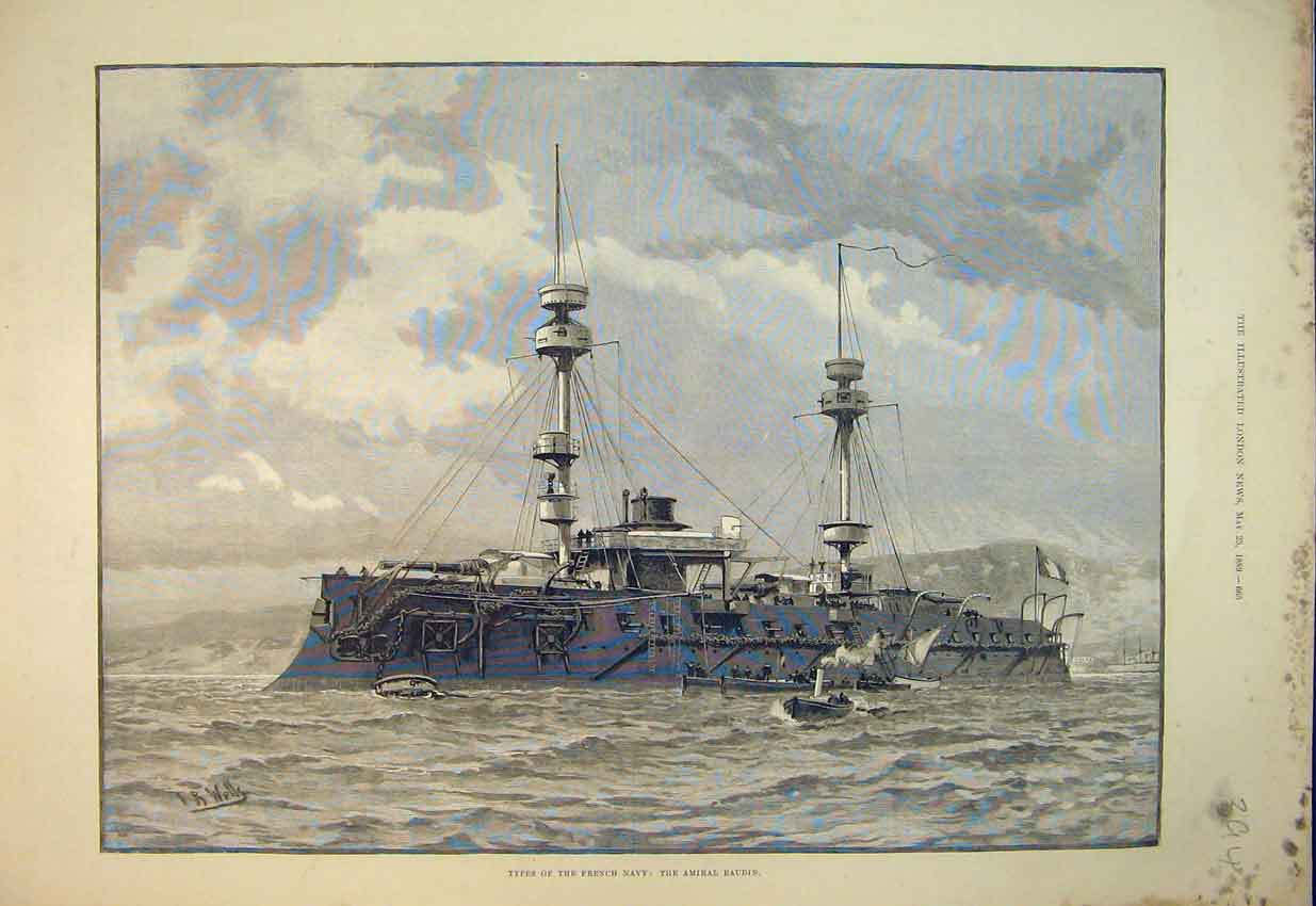 Print 1889 Types French Navy Ship Amiral Baudin Sea Scene 394B352 Old Original