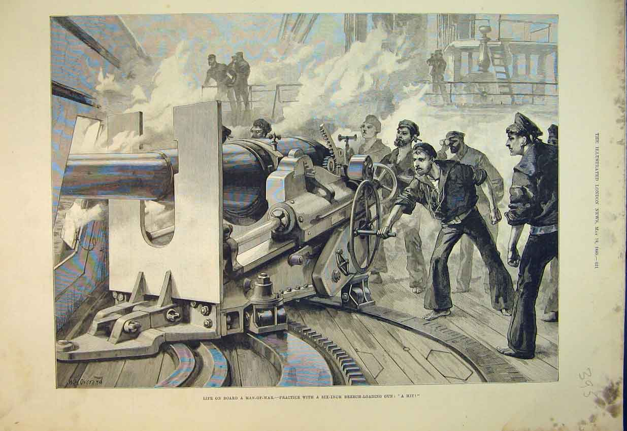 Print 1889 Man-Of-War Ship Six-Inch Breech Loading Gun War 395B352 Old Original