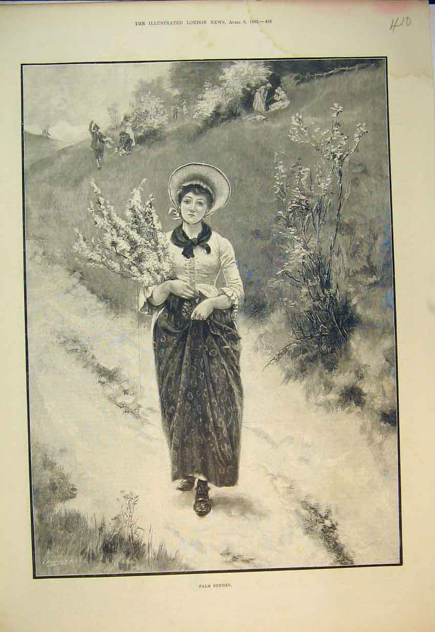 Print 1892 Beautiful Young Woman Flowers Hat 410B352 Old Original