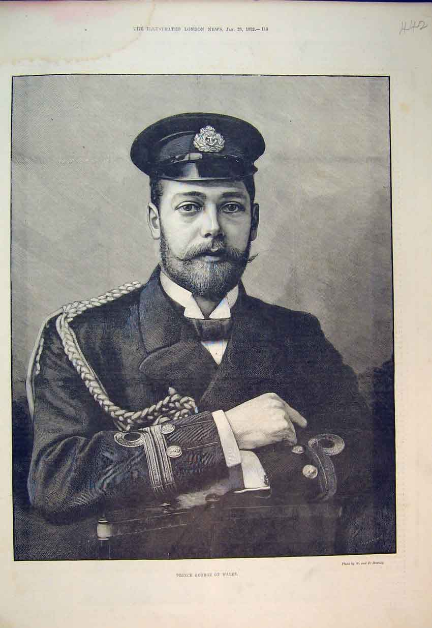 Print Portrait Prince George Wales 1892 Soldier 442B352 Old Original