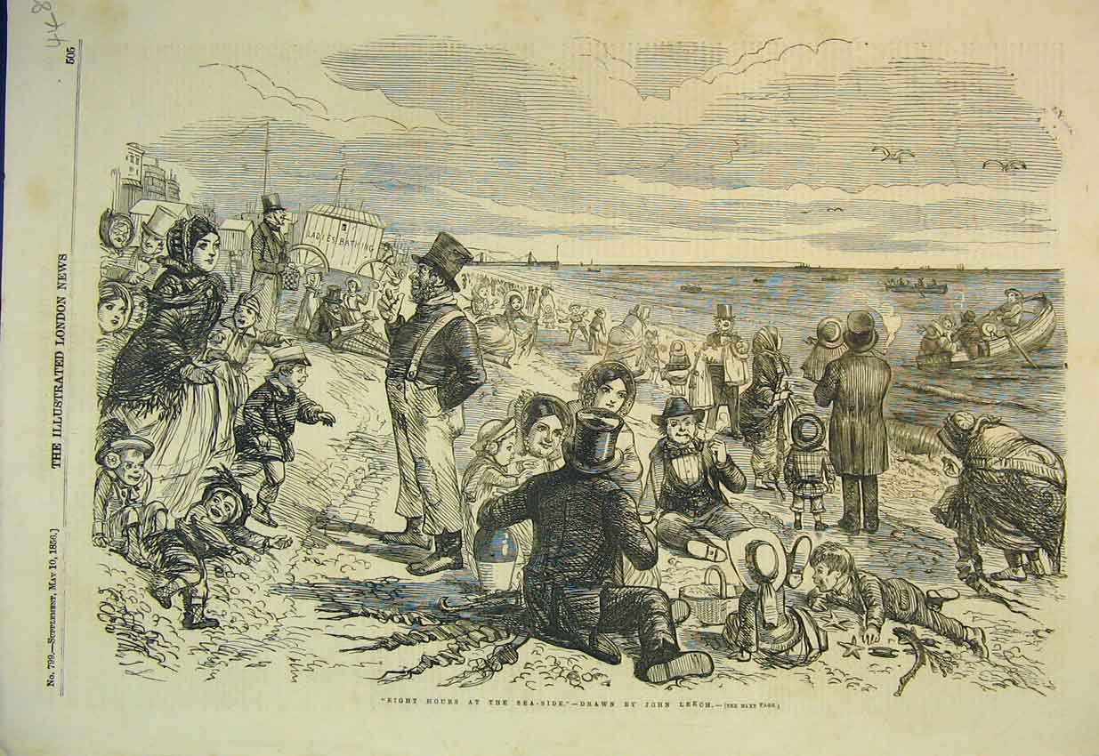 Print 1856 Family Day Out Sea-Side Beach Boat 448B352 Old Original