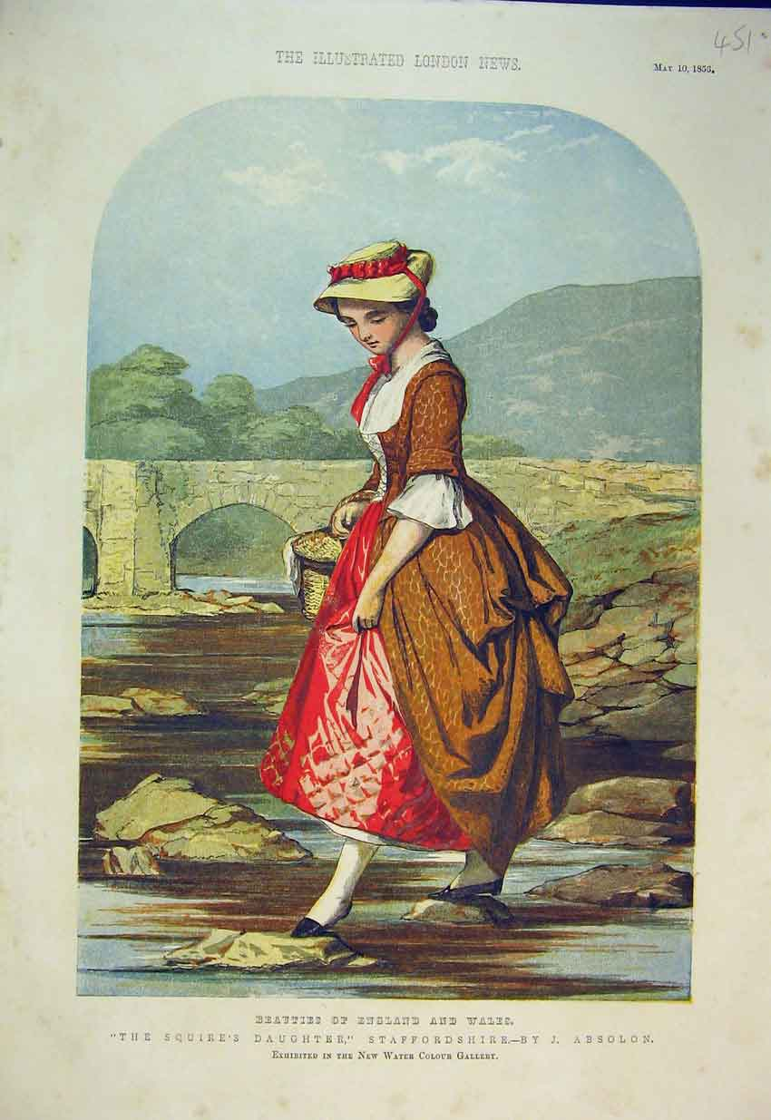 Print Colour 1856 Squire'S Daughter Staffordshire 451B352 Old Original