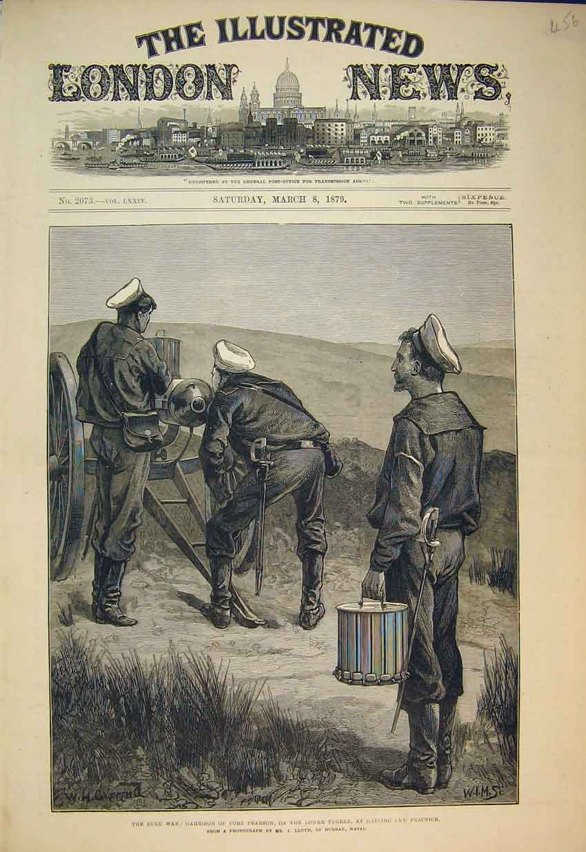 Print 1879 Zulu War Garrison Fort Pearson Lower Tugela Gun 456B352 Old Original
