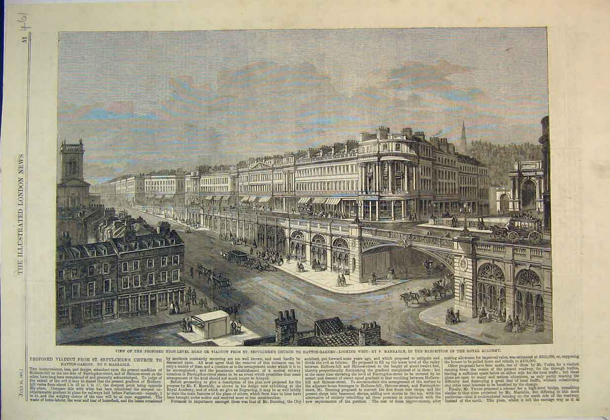 Print View Viaduct Sepulchre'S Church Hatton-Garden 1861 461B352 Old Original