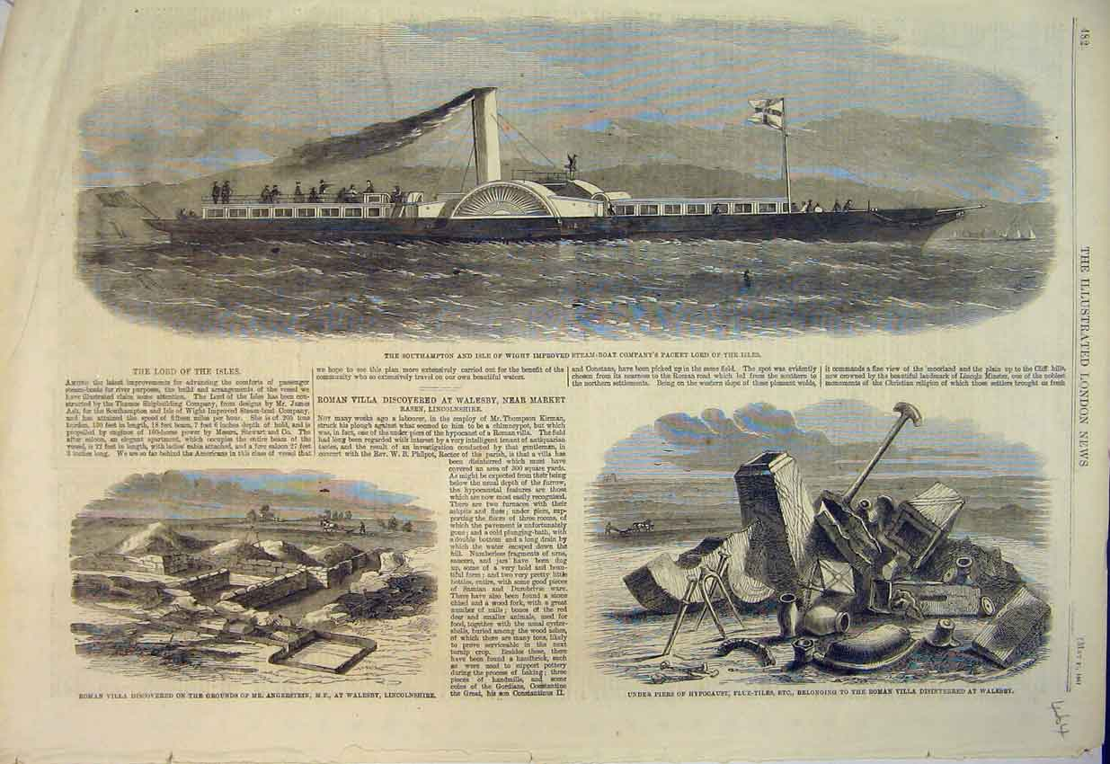 Print 1861 Southampton Steam-Boat Packet Lord Roman Villa 464B352 Old Original