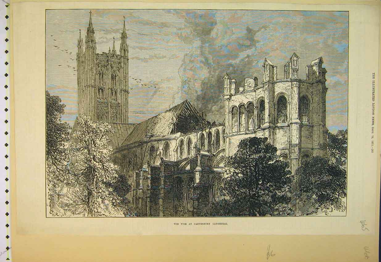 Print 1872 Scene Fire Canterbury Cathedral 465B352 Old Original