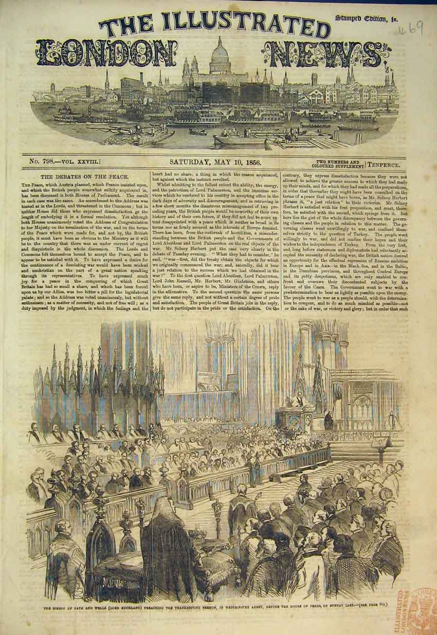 Print 1856 Bishop Bath Lord Auckland Westminster Abbey 469B352 Old Original