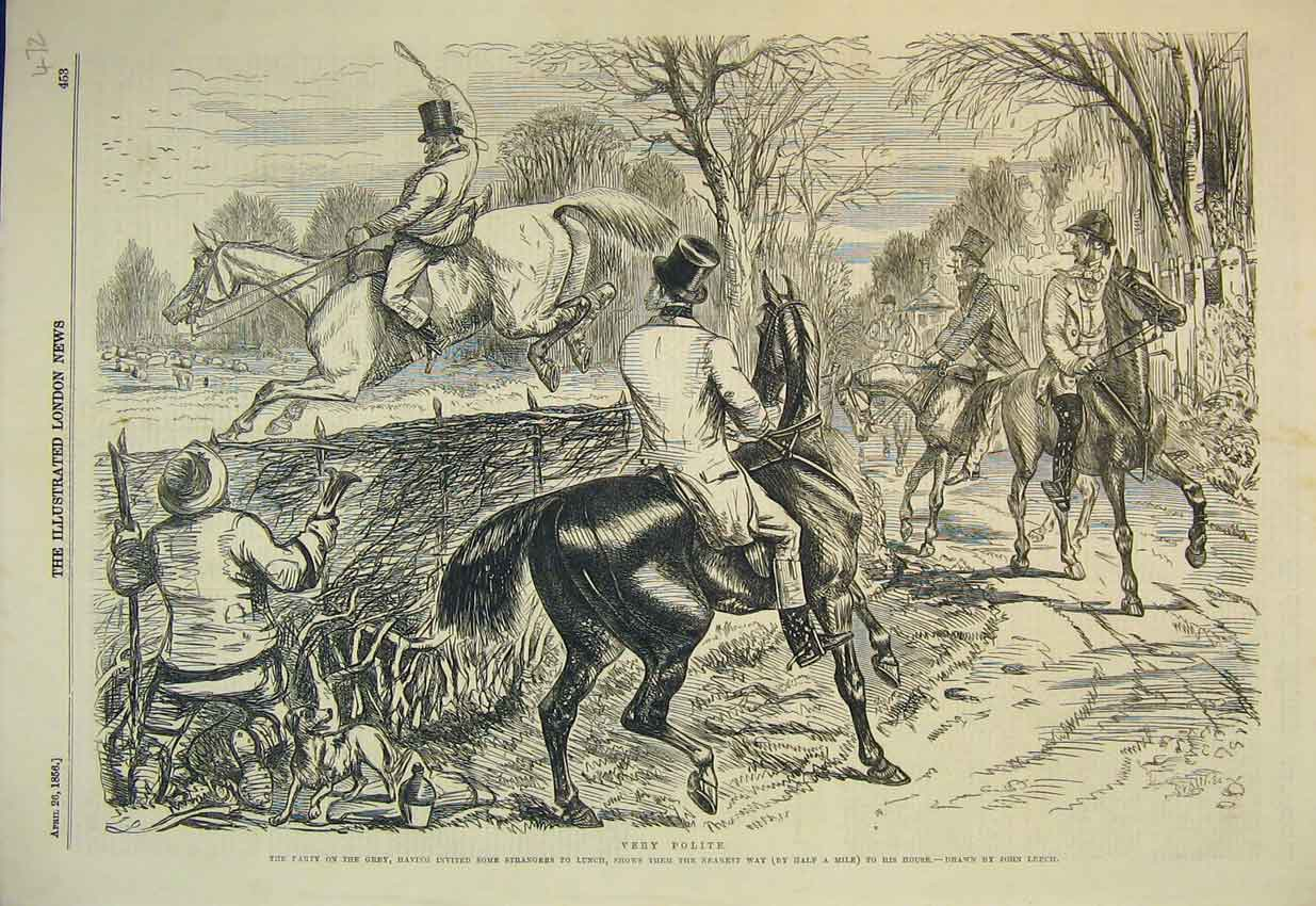 Print 1856 Horse Hunting Jumping Fence Country Lane 472B352 Old Original