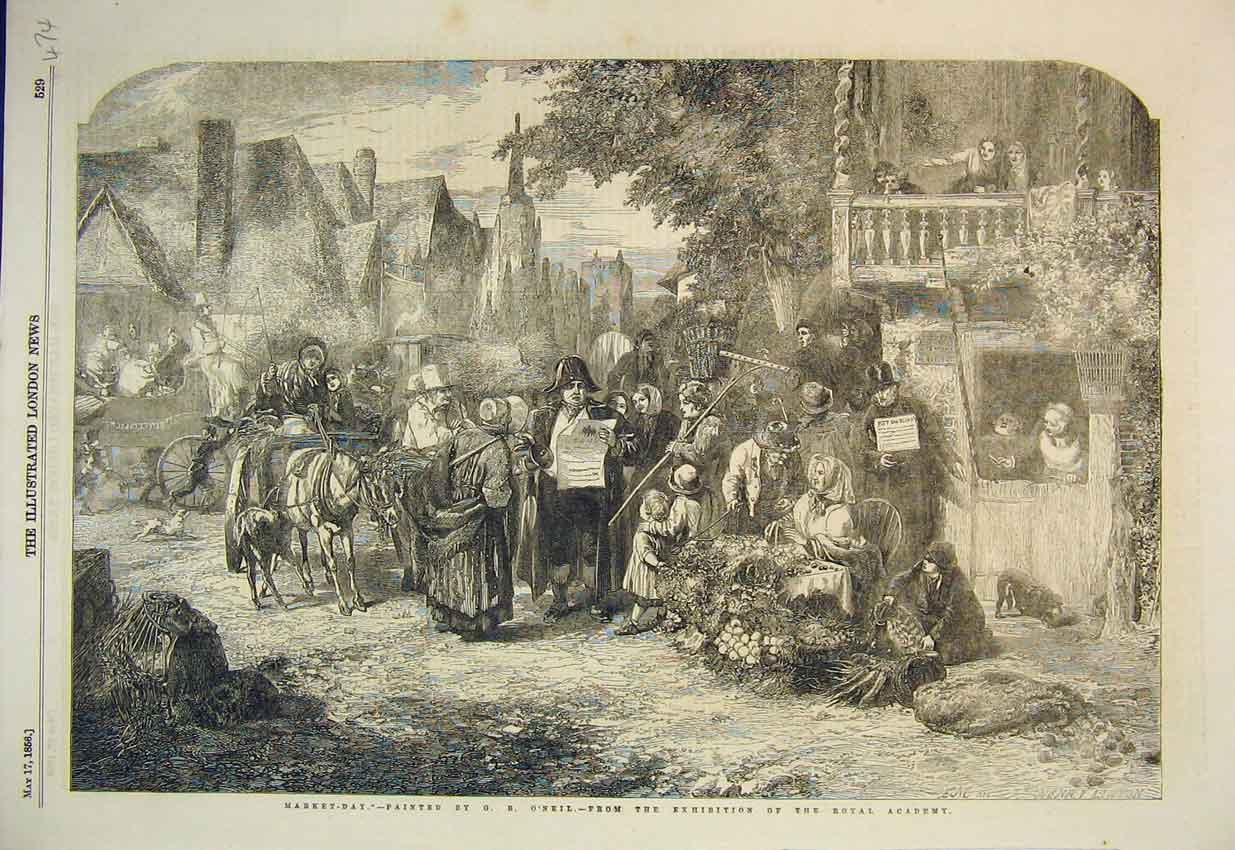 Print 1856 Market Day Scene Fruit Seller Horse Royal Academy 474B352 Old Original