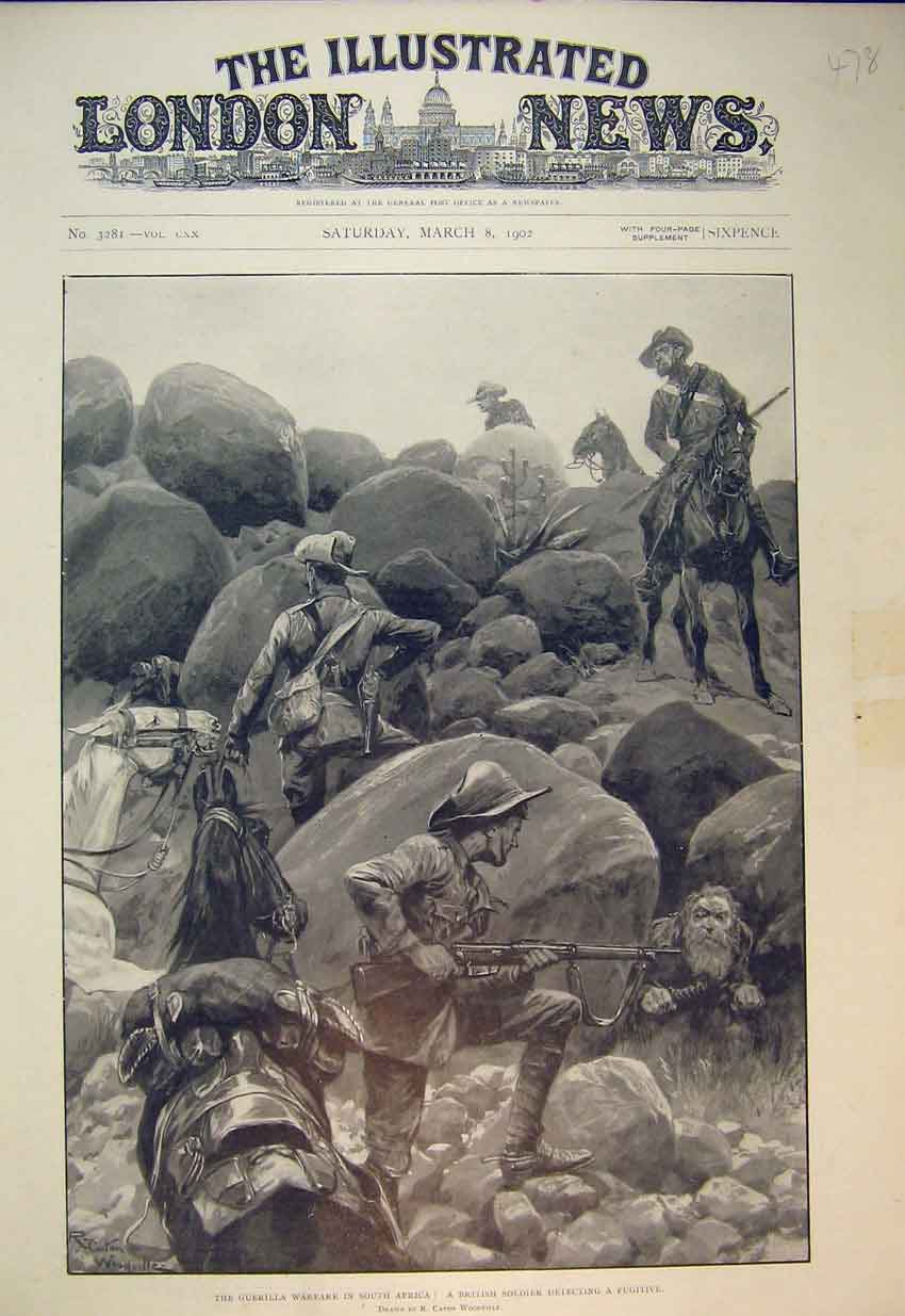 Print Guerilla Warfare South Africa 1902 British Soldier War 478B352 Old Original