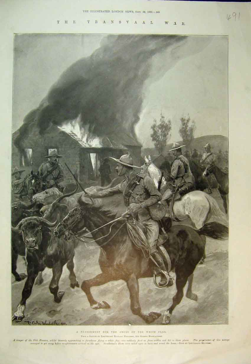 Print 1900 Transvaal War Hussars Farmhouse Fire Highlanders 491B352 Old Original