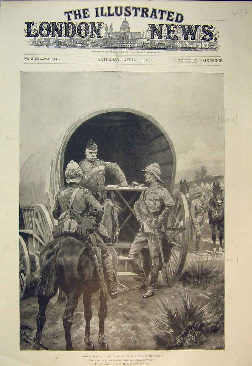 Print Lord Roberts Transport Wagon 1900 Filed-Marshal War 492B352 Old Original
