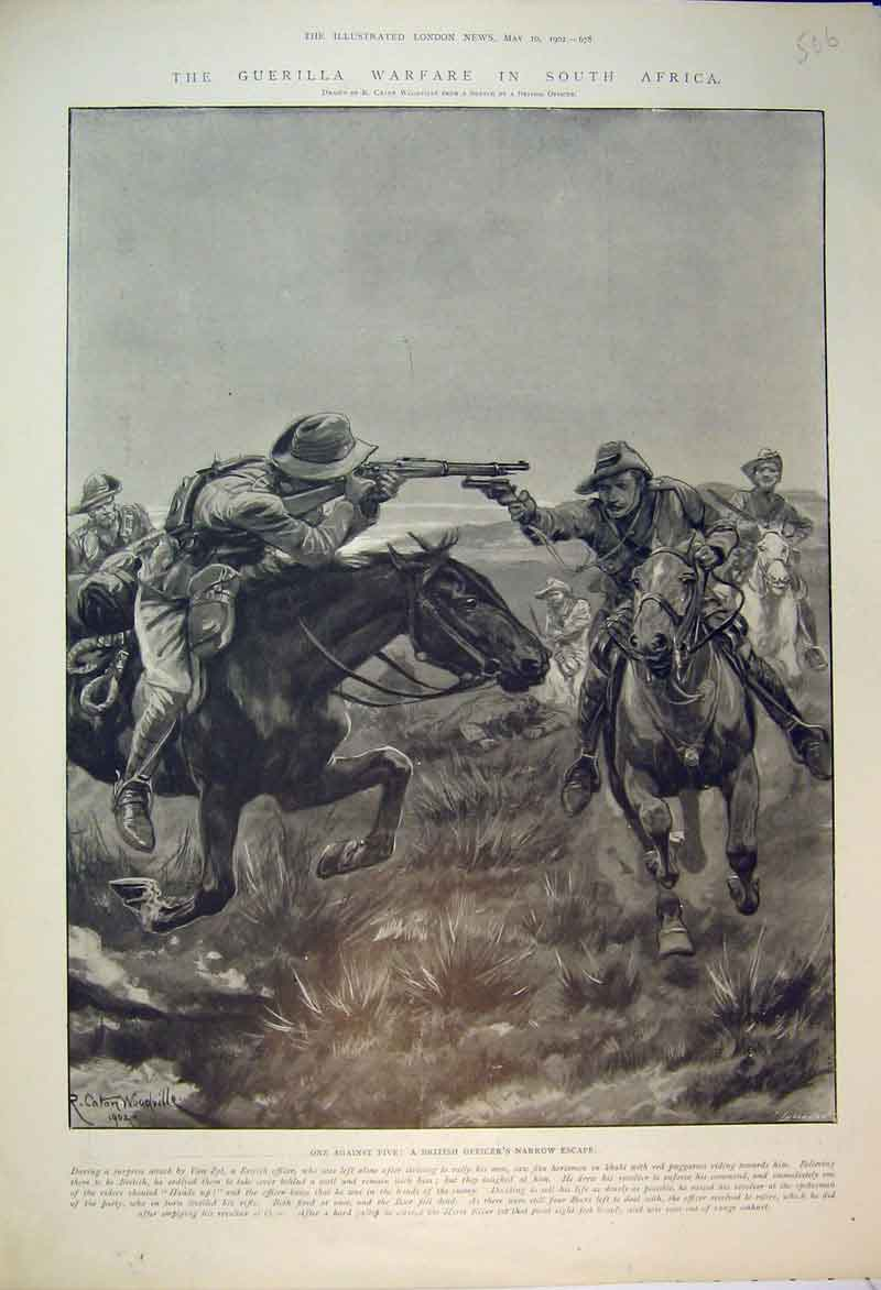Print 1902 Guerilla Warfare South Africa British Officer War 506B353 Old Original