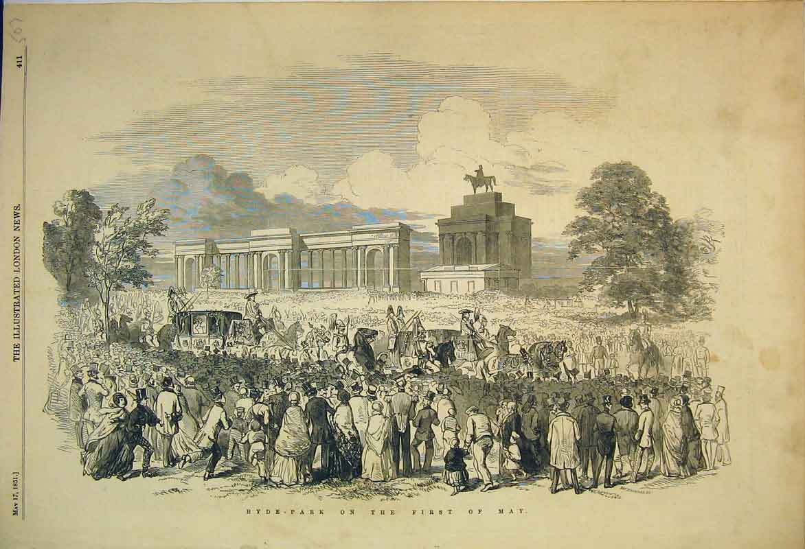 Print 1851 View Hyde Park Summer Procession Statue Families 507B353 Old Original
