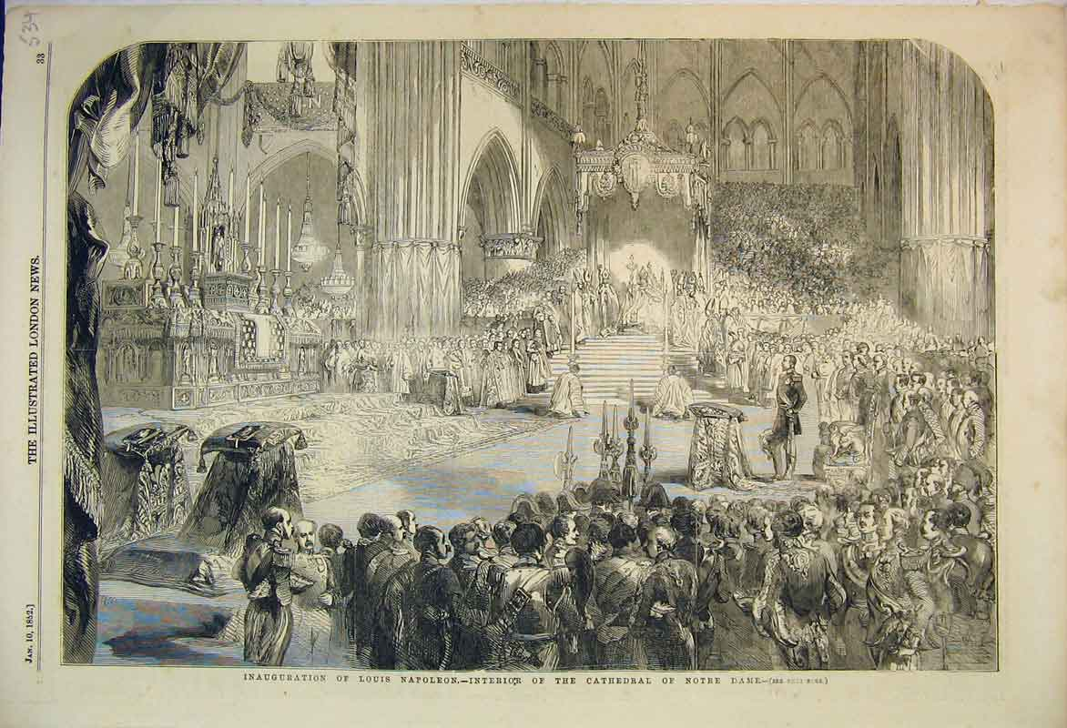 Print *0024 1852 Inauguration Louis Napoleon Cathedral Notre Dame 534B353 Old Original