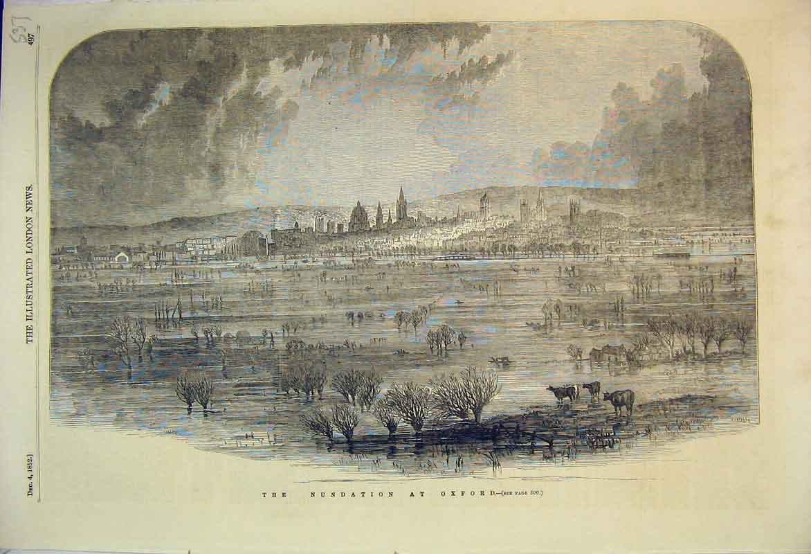 Print 1852 View Nundation Oxford Town Scene Trees Cathedral 537B353 Old Original