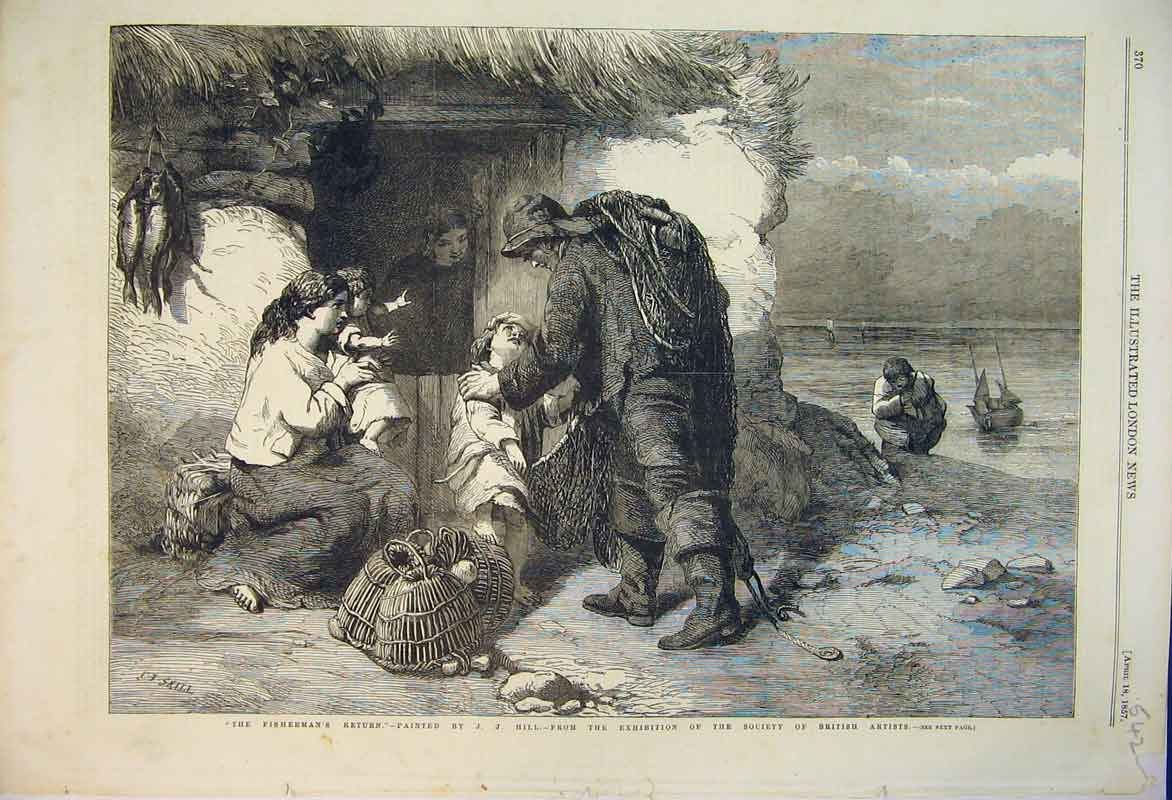 Print 1857 Fishermans Return Family House British Artists 542B353 Old Original