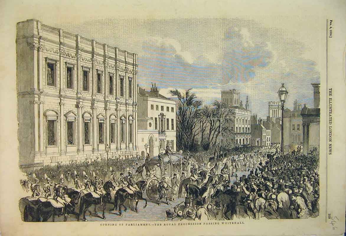 Print 1854 Opening Parliament Royal Procession Whitehall 546B353 Old Original