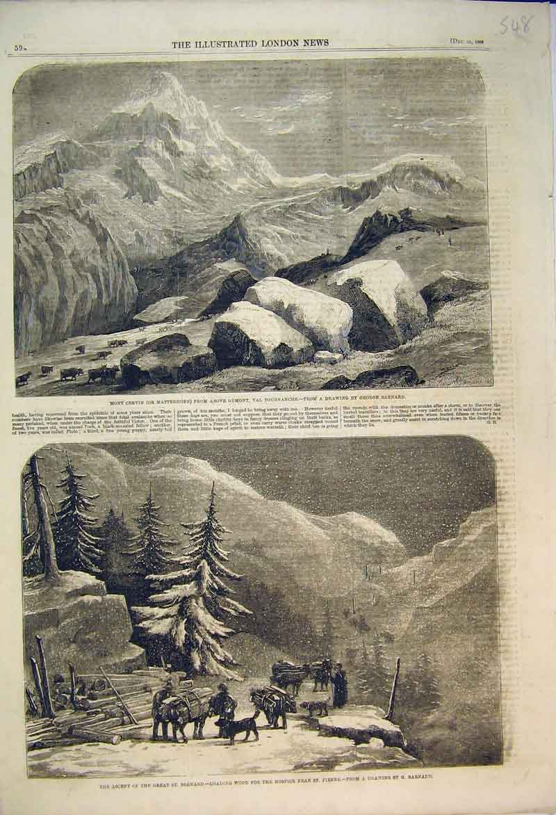 Print 1858 Matterhorn Mountain St Bernard Ascent Barnard 548B353 Old Original