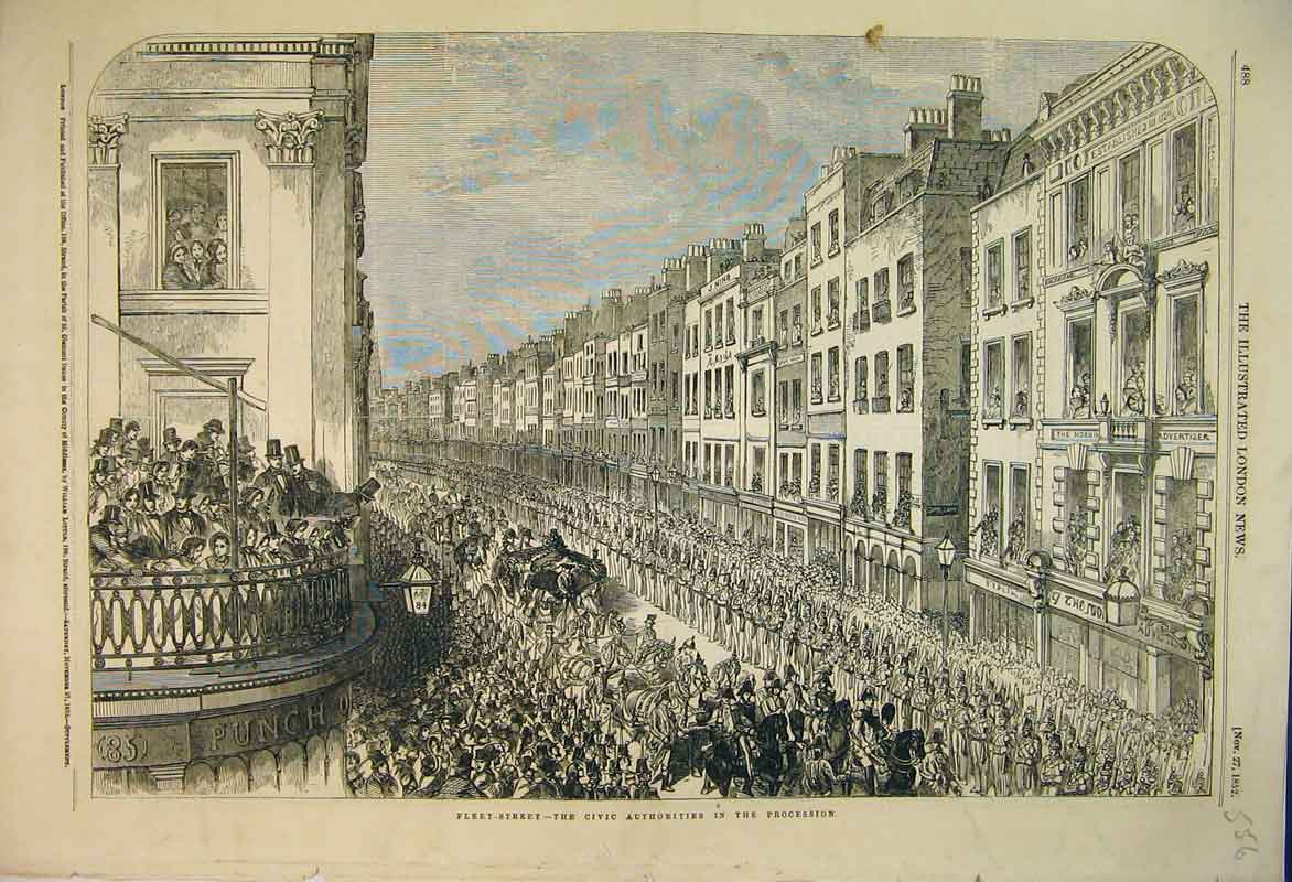 Print Scene Fleet Street London 1852 Civic Procession Horses 556B353 Old Original