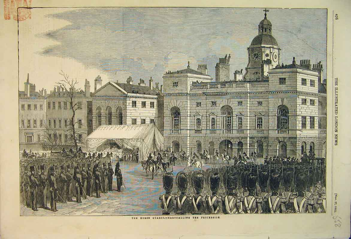 Print 1852 Scene Piccadilly Procession Rifle Brigade Soldiers 558B353 Old Original