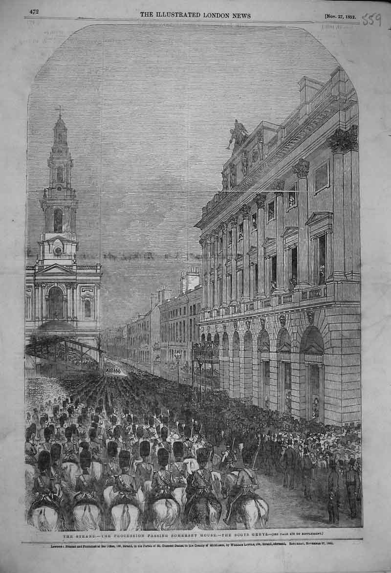 Print 1852 View Strand Procession Passing Somerset Scots Grey 559B353 Old Original