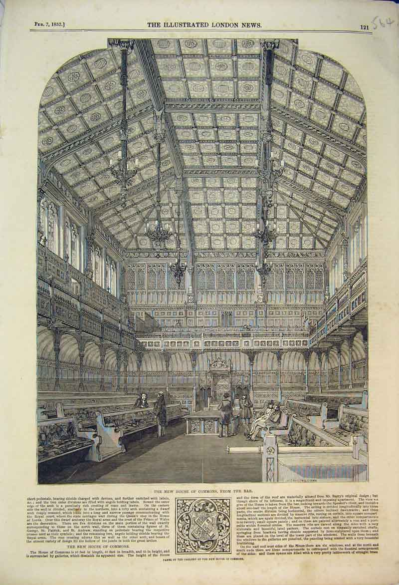 Print 1852 Interior View House Commons Bar Panel Gallery 564B353 Old Original