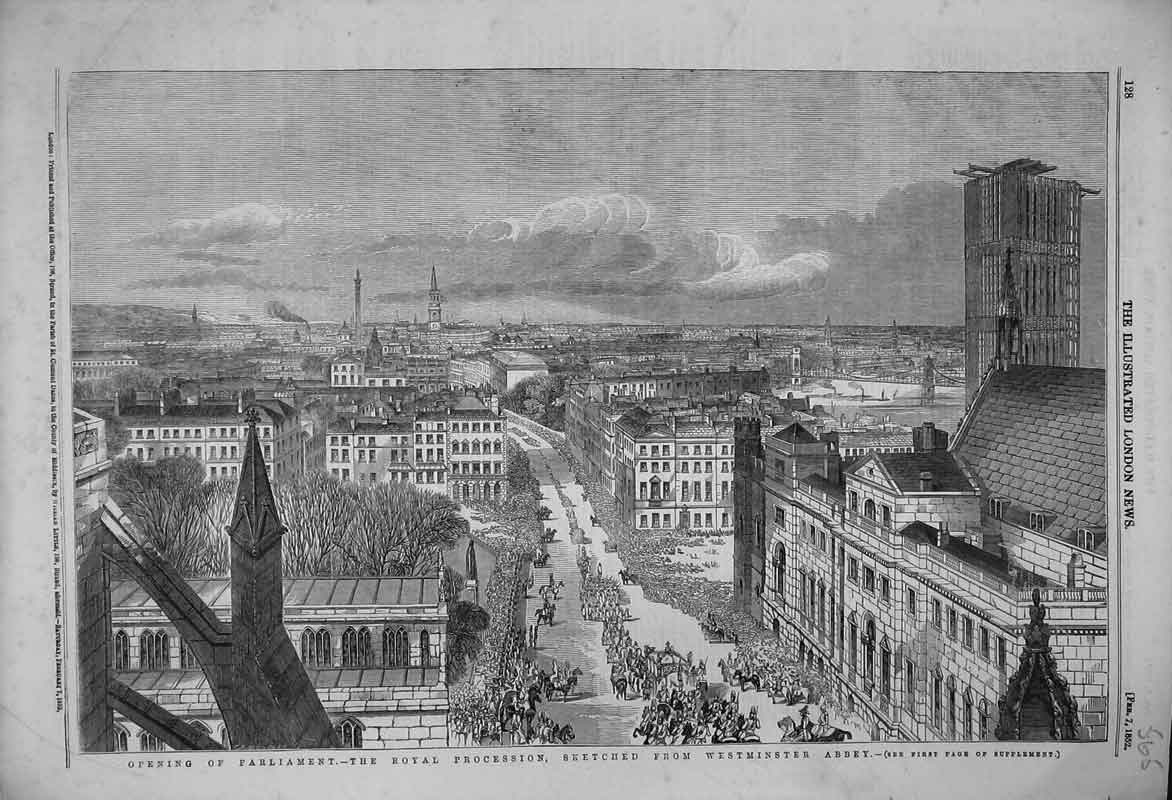 Print 1852 Opening Parliament Royal Procession Westminster 565B353 Old Original