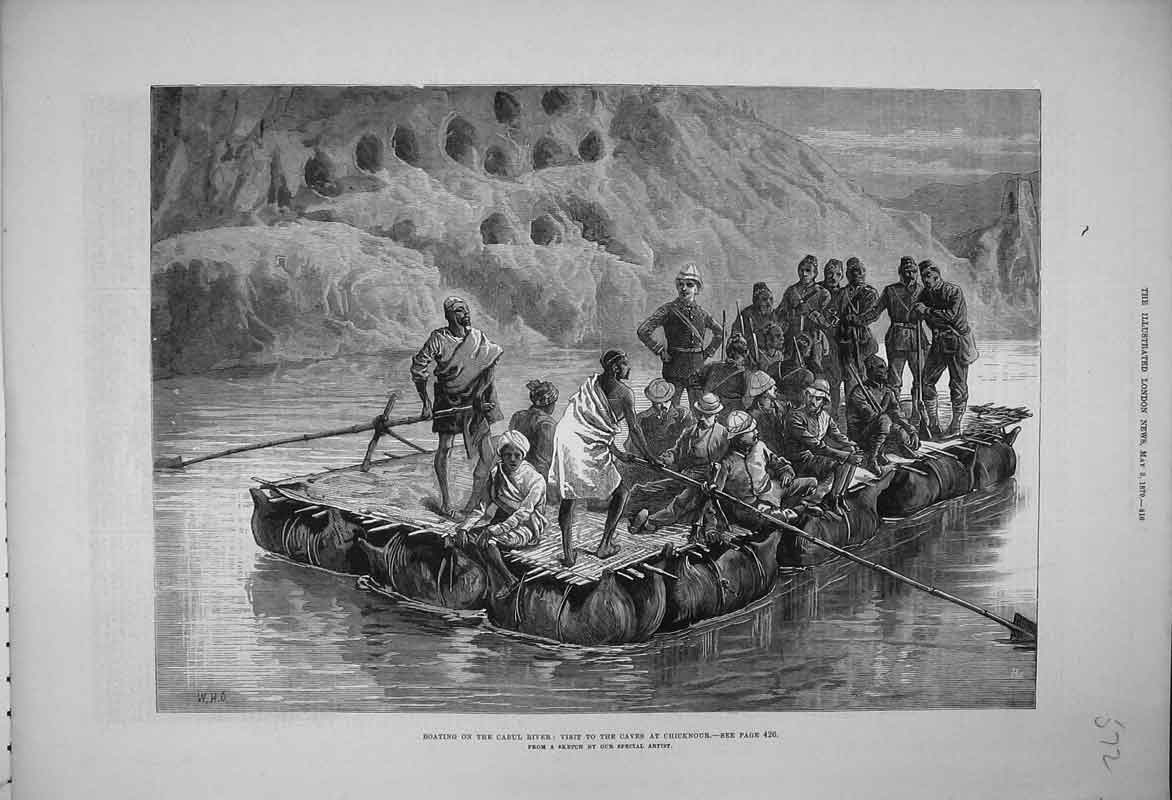 Print 1879 Boating River Cabul Visit Caves Chicknour Men 572B353 Old Original